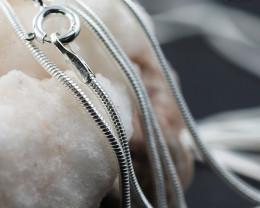 20 Inch, 50 cm 1.0 x 0.8   mm Long  Snake  Silver chain . AM 969