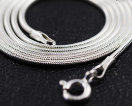 20 Inch, 50 cm 1.0 x 0.8   mm Long  Snake  Silver chain . AM 976