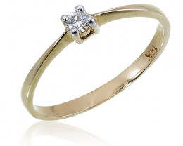 Modern 14 k Solid Yellow Gold Genuine Solitaire Diamond Ring
