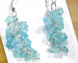 49.95CTS APATITE EARRINGS NEON BLUE UNTREATED SG-2256