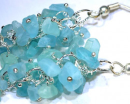 49.95CTS APATITE EARRINGS NEON BLUE UNTREATED SG-2267