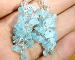 49.95CTS APATITE EARRINGS NEON BLUE UNTREATED SG-2270