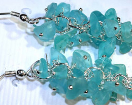 49.95CTS APATITE EARRINGS NEON BLUE UNTREATED SG-2289