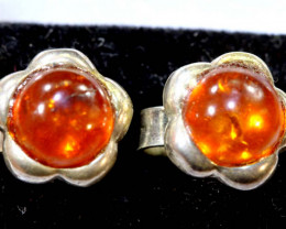 9.58 CTS AMBER SILVER EARRINGS  SG-2101