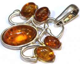 15.24 CTS AMBER SILVER PENDANT  SG-2102