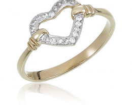 Modern 14 k Solid Yellow Gold Genuine Diamond Ring