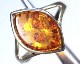 10.62 CTS  AMBER SILVER RING-SIZE SG-2105