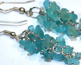 49.95CTS APATITE EARRINGS NEON BLUE UNTREATED SG-2295