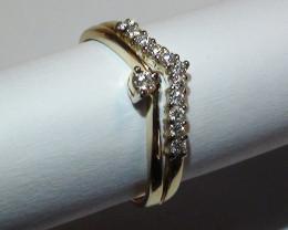 Modern 14 k Solid Yellow Gold Diamond Ring