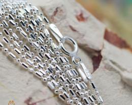 18 Inch, 45 cm 0.9 x0.9    mm Long Ball & Bead  Silver chain . AM 980
