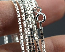 18 Inch, 45 cm1.3 x 1.2   mm Long Box  Silver chain . AM 992