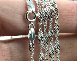 16 Inch, 42 cm 1.4 x2.5   mm Long Twisted Rope  Silver chain . AM 1006