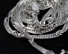16 Inch, 42 cm 1.4 x2.5   mm Long Twisted Rope  Silver chain . AM 1012