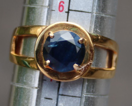 Blue Sapphire 1.51ct Solid 21K Yellow Gold Ring,Natural,Untreated,Certified