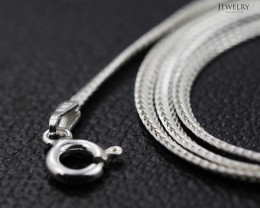 16 Inch, 40 cm 2.0 x .7   mm LFlat Snake  Silver chain . AM 1024