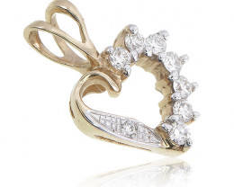 Stunning 14 k Solid Yellow Gold Heart Genuine Diamond Pendant