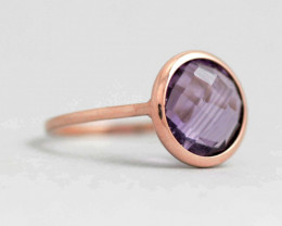 14K Solid Gold Amethyst Ring, February Birthstone Natural & Untreat