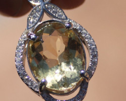 Yellow Scapolite 3.50ct, Solid 925 Sterling Silver, White Gold Finish Penda