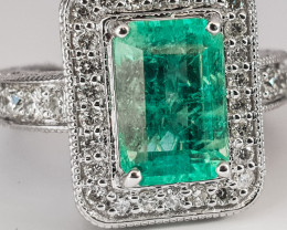 IGI Certified-3.08 CTS Colombian Emerald White Gold Diamond Ring