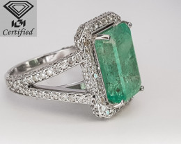 IGI Certified-7.77 CTS Colombian Emerald-White Gold Diamond Ring