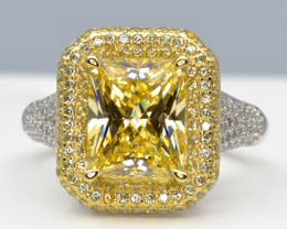 Yellow Cubic Zirconium and Silver Ring Sparkles like Diamond