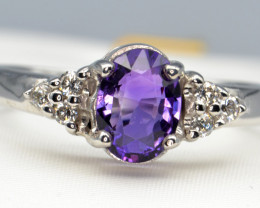 Natural Amethyst and Silver Ring