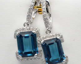 Natural Blue Topaz, Sapphire and Silver Earrings