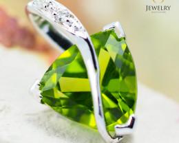 18K White Gold Peridot & Diamond Pendant - 21 - D P5635 1950 A