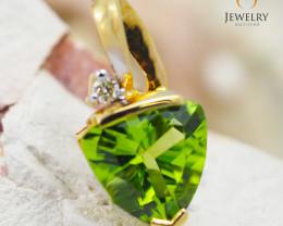 18K Yellow Gold Peridot & Diamond Pendant - 24 - D P4445C 1850 B