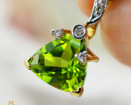 18K Yellow Gold Peridot & Diamond Pendant - 25 - D P5643 2300