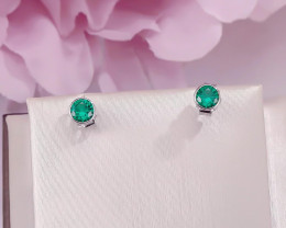 3 Ct Natural Green Emerald Stud Earrings For Women 18K White Gold Plated