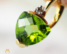 18K Yellow Gold Peridot & Diamond Pendant - 23 - D P4445C 1850 A