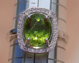 Peridot 3.65ct, Solid Sterling Silver Ring, White Gold Finish, Natural, Ova