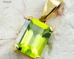18K Yellow Gold Peridot Pendant - 26 - D P733 1050