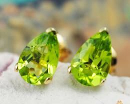 14 K Yellow Gold Peridot Earrings - 37 - D E5785A 1200