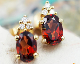 14 K Yellow Gold Garnet & Diamond Earrings - 38 - D E9798 2050 G