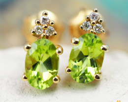14 K Yellow Gold Peridot & Diamond Earrings - 39 - D E9798 2050 P