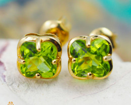 14 K Yellow Gold Peridot Earrings - 42 - D E3991 1600