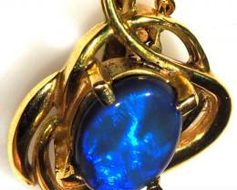 Gem Electric Blue Fire Black Opal set in 18k Gold Pendant SB660