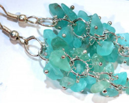 49.95CTS APATITE EARRINGS NEON BLUE UNTREATED SG-2302
