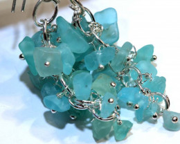 49.95CTS APATITE EARRINGS NEON BLUE UNTREATED SG-2304