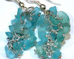 49.95CTS APATITE EARRINGS NEON BLUE UNTREATED SG-2318