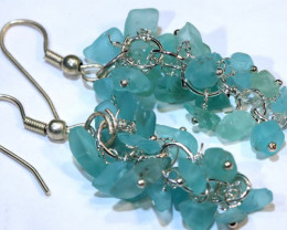 49.95CTS APATITE EARRINGS NEON BLUE UNTREATED SG-2326