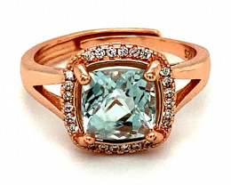 Aquamarine 1.85ct, White Gold Finish, Solid 925 Sterling Silver Ring, Natur