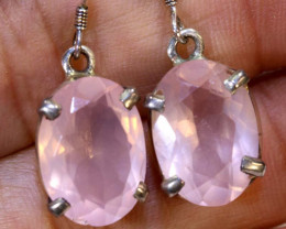 25.85 CTS ROSE QUARTZ CRYSTAL HOOK EARRINGS SG-2365