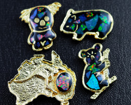 Set 4 Australian Animal  Opal Fridge Magnets  AM  1128