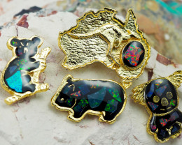 Set 4 Australian Animal  Opal Fridge Magnets  AM  1129
