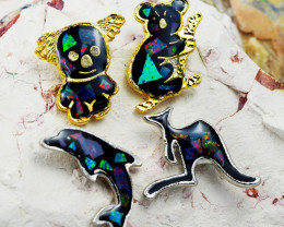 Set 4 Australian Animal  Opal Fridge Magnets  AM  1135