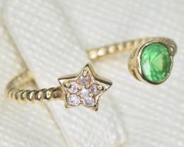 Natural Tsavorite Garnet, Diamond and 9k Gold Ring