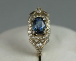 Natural Blue sapphire  1.15 cts 925 Sterling white rhodium silver ring